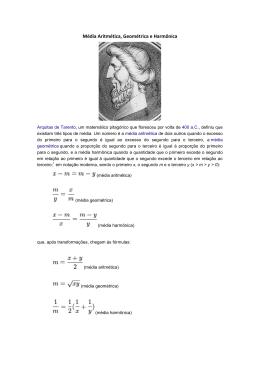 Média Aritmética, Geométrica e Harmônica