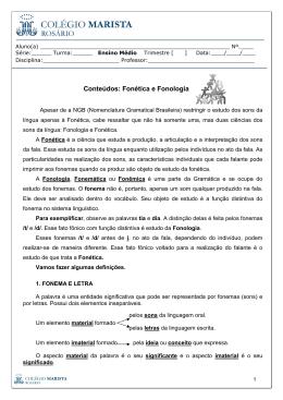 Material de reflexões linguísticas.N1.1EM.Fonética e Fonologia.Prof