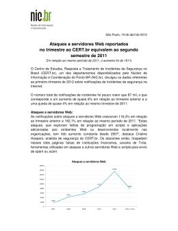Ataques a servidores Web reportados no trimestre ao CERT