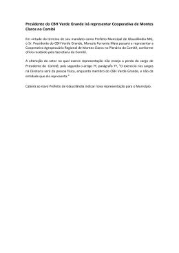 Presidente do CBH Verde Grande irá representar Cooperativa de