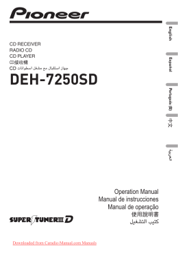 Pioneer DEH-7250SD Car Radio OWNER`S MANUAL Operating