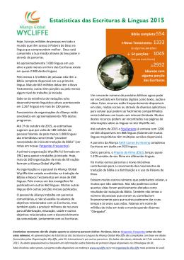Estatísticas das Escrituras & Línguas 2014