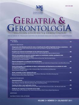 Nº 3 – Edição: Jul/Ago/Set 2011 - Sociedade Brasileira de Geriatria