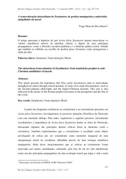 A transvaloração nietzschiana de Zaratustra: de