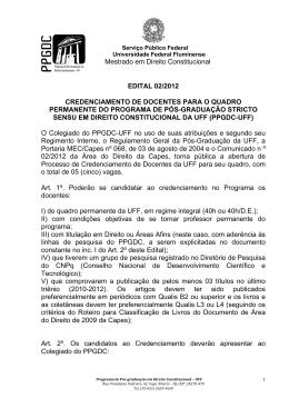 Mestrado em Direito Constitucional EDITAL 02/2012