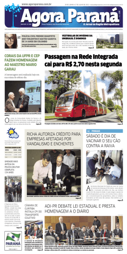 Passagem na Rede Integrada cai para R$ 2,70 - Agora Paraná