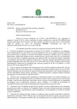 PARA: SE DE: KELL ASSUNTO categoria A mil reais), p CVM nº