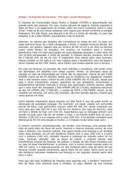 Artigo - O imposto da herança - Por Igor Lucato Rodrigues