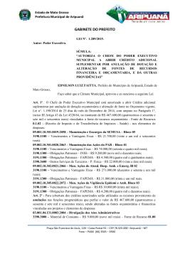 Leis nº 1289/2015 - Prefeitura Municipal de Aripuanã