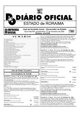 D.O.E.Nº 768.pmd - Imprensa Oficial do Estado de Roraima