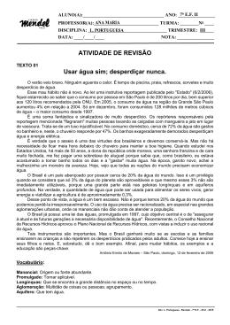 Ativ. L. Portuguesa – Revisão – 7º E.F. – III tri – 2015