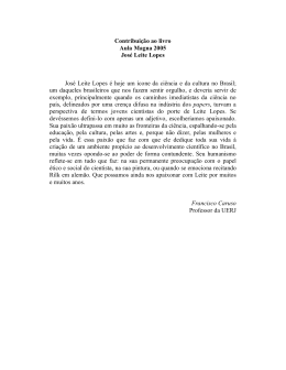 Contribuição ao livro Aula Magna 2005 José Leite Lopes José Leite