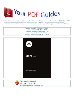 Manual de instruções MOTOROLA W388