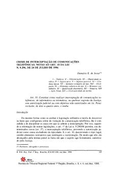 crime de interceptação de comunicações telefônicas. notas