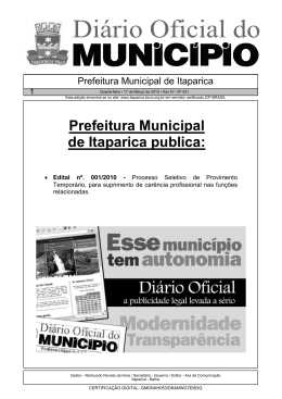 Prefeitura Municipal de Itaparica publica: