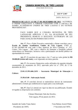 Leis 2012 - Câmara Municipal de Três Lagoas