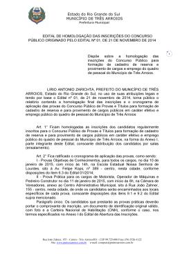 Estado do Rio Grande do Sul MUNICÍPIO DE TRÊS ARROIOS