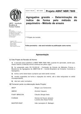 Projeto ABNT NBR 7809 Agregados graúdo – Determinação