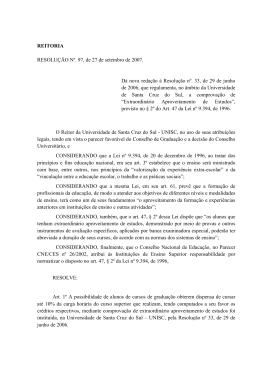 Resolução Nº 97, de 27 de setembro de 2007
