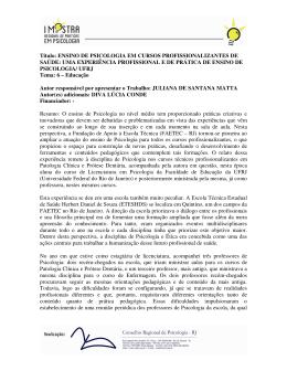 Título: ENSINO DE PSICOLOGIA EM CURSOS - CRP-RJ