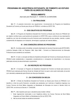 Regulamento do Programa de Assistência Estudantil