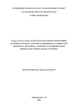 Texto Completo - Faculdade de Ciências Farmacêuticas