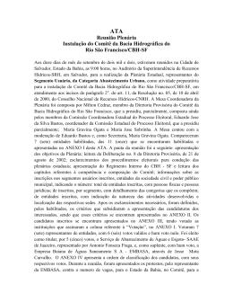 Reunião Plenária Instalação do Comitê da Bacia Hidrográfica do