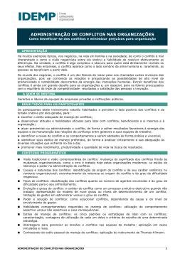 ADMINISTRAÇÃO DE CONFLITOS NAS ORGANIZAÇÕES