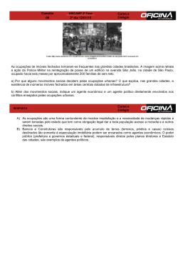 Questão Curso e Colégio 09 2º dia 12/01/15 As ocupações
