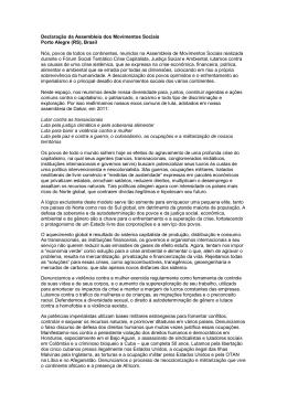 Declaração da Assembleia dos Movimentos Sociais Porto
