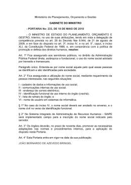 Ministério do Planejamento, Orçamento e Gestão GABINETE