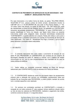 CONTRATO DE PROVIMENTO DE SERVIÇOS DE VALOR