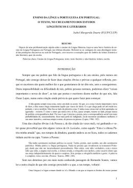 1 ENSINO DA LÍNGUA PORTUGUESA EM PORTUGAL: O TEXTO