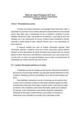 Matriz de Língua Portuguesa de 8ª série Comentários sobre os