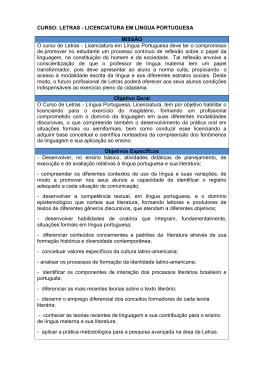 CURSO: LETRAS - LICENCIATURA EM LÍNGUA PORTUGUESA