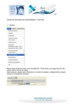 DICAS DO SISTEMA DE CONDOMÍNIOS – CDM-SQL 1 - Hi-Tec