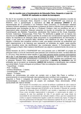 do arquivo - Federação das APAEs do Estado de São