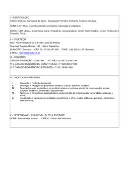 IDENTIFICAÇÃO RAZÃO SOCIAL: Caminhos da Serra