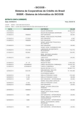 - SICOOB - Sistema de Cooperativas de Crédito do Brasil SISBR