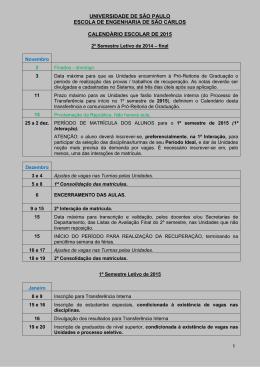 Calendário escolar USP 2015
