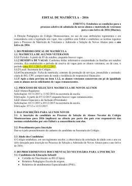 EDITAL DE MATRÍCULA – 2016