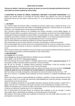 EDITAL SECTI Nº 14/2015 Processo de seleção e