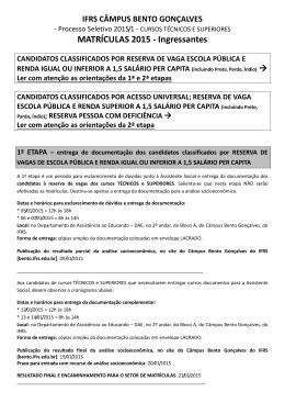Orientações para matrícula Câmpus Bento Gonçalves
