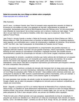 Veja Online - FGV/EPGE - Fundação Getulio Vargas