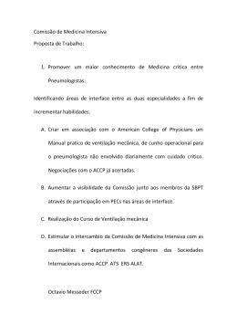Comissão de Medicina Intensiva Proposta de Trabalho: 1. Promover