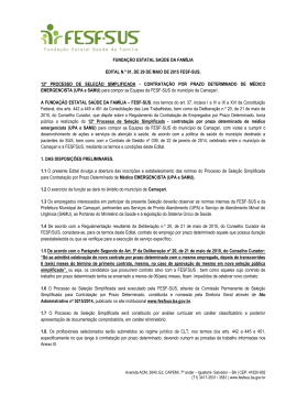 Edital 01 - Abertura de Processo Seletivo - Médicos