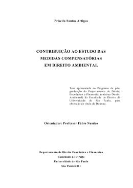 contribuição ao estudo das medidas compensatórias em direito