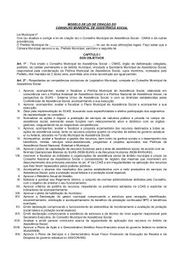 Lei de Criação do Conselho Municipal de Assistência Social