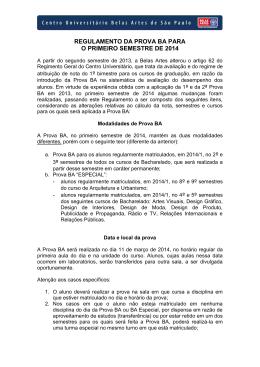 regulamento geral - Centro Universitário Belas Artes de São Paulo
