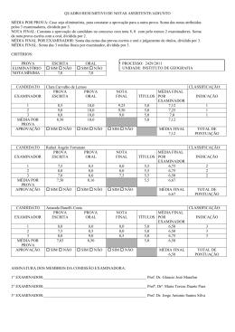 QUADRO RESUMITIVO DE NOTAS - Instituto de Geografia da UERJ